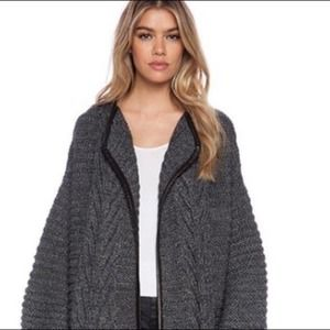 Michelle Mason Cardigan with Leather Trim S